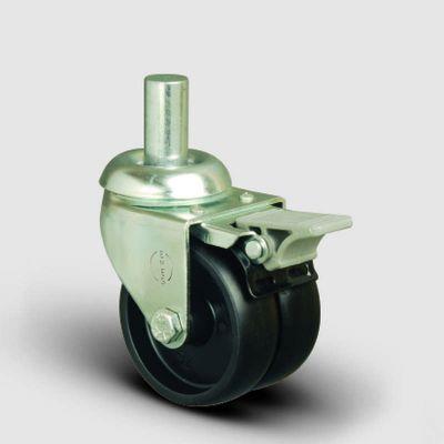EMES - ET03MKM75F Oynak Frenli Pimli Çiftli Moblen Tekerlek Çap:75 Sanayi Tekerleği Burçlu Oynak Pim Bağlantılı Polipropilen İkili Teker