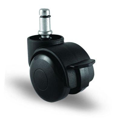 EMES - EC03GMKM50F Pimli Frenli Plastik Mobilya Tekerleği Çap:50 Oynak Frenli Pim Bağlantılı, Geniş Tip, Burçlu Koltuk Tekeri
