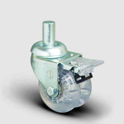 EMES - ET03DKP50F Oynak Frenli Pimli Çiftli Şeffaf Tekerlek Çap:50 Sanayi Tekerleği Burçlu Oynak Pim Bağlantılı Poliüretan Silikon İkili Teker
