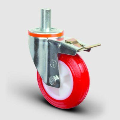 EMES - EM03ZKP100F Oynak Frenli Pimli Poliüretan Tekerlek Çap:100 Hafif Sanayi Tekerleği Burçlu Pim Bağlantılı Poliamid Üzeri Poliüretan Kaplı Kırmızı Teker