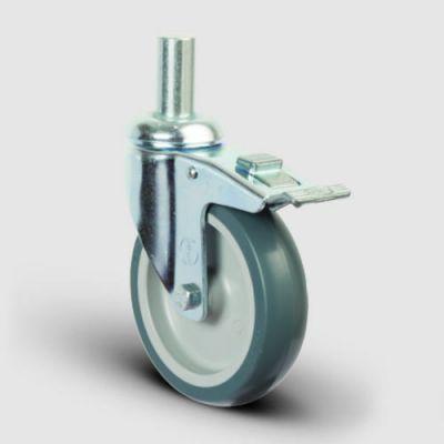 EMES - ER03MKT100F Oynak Pimli Kauçuk Frenli Tekerlek Çap:100 Hafif Sanayi Tekerleği Pim Bağlantılı Burçlu Polipropilen Üzeri Termoplastik Kauçuk Kaplı Gri Teker