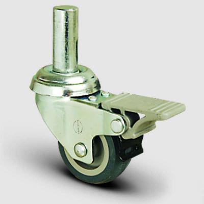 EMES - EP03MKT75F Oynak Pimli Termoplastik Kauçuk Frenli Tekerlek Çap:75 Hafif Sanayi Tekerleği Burçlu Pim Bağlantılı Gri Kaplı Teker