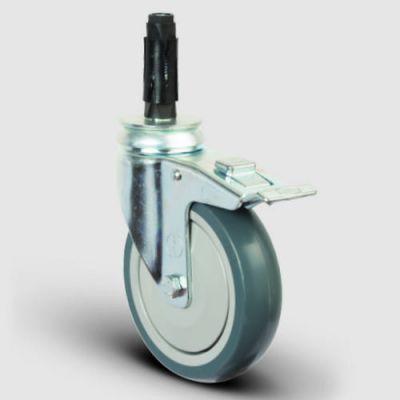 EMES - ER07MBT125F Oynak Soketli Frenli Termoplastik Kauçuk Tekerlek Çap:125 Hafif Sanayi Tekerleği Soket Geçme Bağlantılı Bilya Rulmanlı Polipropilen Üzeri Termoplastik Kauçuk Kaplı Gri Teker