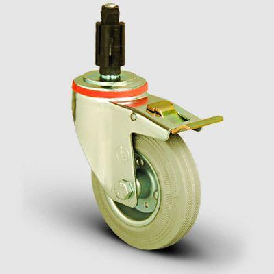 EMES - EM07SPRG100F Oynak Soketli Frenli Gri Kauçuk Tekerlek Çap:100 Hafif Sanayi Tekerleği Burçlu Soket Geçme Bağlantılı Sac Jant Üzeri Gri Kauçuk Kaplamalı