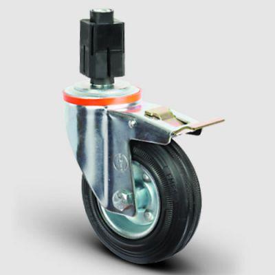 EMES - EM07SPR100F Oynak Soketli Frenli Kauçuk Tekerlek Çap:100 Hafif Sanayi Tekerleği Burçlu Soket Geçme Bağlantılı Sac Jant Üzeri Kauçuk Kaplamalı