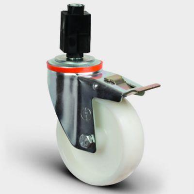 EMES - EM07ZKZ100F Oynak Soketli Frenli Poliamid Tekerlek Çap:100 Hafif Sanayi Tekerleği Burçlu Soket Geçme Bağlantılı