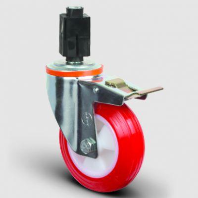 EMES - EM07ZKP100F Oynak Soketli Frenli Poliüretan Tekerlek Çap:100 Hafif Sanayi Tekerleği Burçlu Soket Geçme Bağlantılı Poliamid Üzeri Poliüretan Kaplı Kırmızı Teker