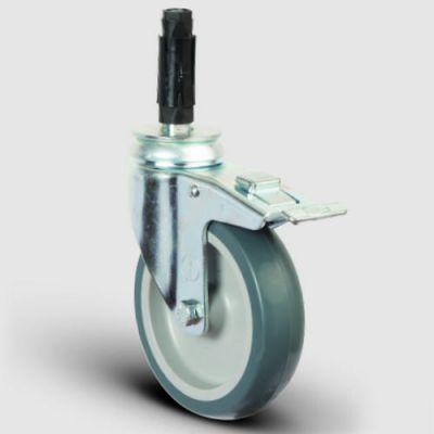 - ER07MKT100F Oynak Soketli Frenli Termoplastik Kauçuk Tekerlek Çap:100 Hafif Sanayi Tekerleği Soket Geçme Bağlantılı Burçlu Polipropilen Üzeri Termoplastik Kauçuk Kaplı Gri Teker