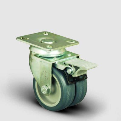 EMES - ET01MKT75F Oynak Frenli Tablalı Çiftli Termo Kauçuk Tekerlek Çap:75 Sanayi Tekerleği Burçlu Oynak Tabla Bağlantılı Termoplastik Kauçuk İkili Teker