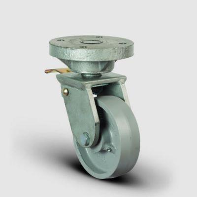 EMES - EH01VBV200F Döner Tablalı Frenli Döküm Tekerlek Çap:200 Lama Çatılı Ağır Sanayi Tekerleği Kaynak Maşa Oynak Frenli Tabla Bağlantılı Bilya Rulmanlı