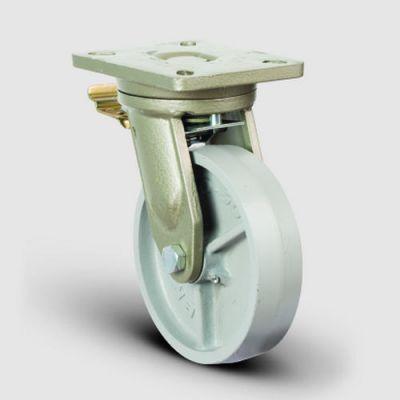 EMES - EV01VBV250F Döner Tablalı Frenli Döküm Tekerlekli Çap:250 Ekstra Ağır Sanayi Tekerleği Bilya Rulmanlı