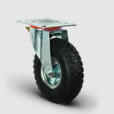 EMES - EG01SBRH260F Döner Tablalı Frenli Sac Jant Havalı Tekerlek Çap:260, Sanayi Tekerleği, Oynak Frenli Tabla Bağlantılı, Bilya Rulmanlı Şişme Tekerlek