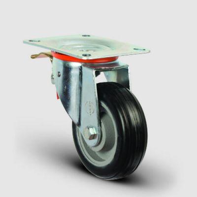 EMES - EX01VBR150F Döner Tablalı Frenli Döküm Üzeri Kauçuk Kaplı Tekerlek Çap:150 Ağır Sanayi Tekerleği Geniş Maşa Oynak Frenli Tabla Bağlantılı Bilya Rulmanlı