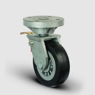 EMES - EH01VBR200F Döner Tablalı Frenli Döküm Üzeri Kauçuk Kaplı Tekerlek Çap:200 Lama Çatılı Ağır Sanayi Tekerleği Kaynak Maşa Oynak Frenli Tabla Bağlantılı Bilya Rulmanlı