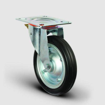 EMES - EG01SBR250F Döner Tablalı Frenli Kauçuk Kaplı Tekerlek Çap:250 Sanayi Tekerleği Oynak Frenli Tabla Bağlantılı Bilya Rulmanlı