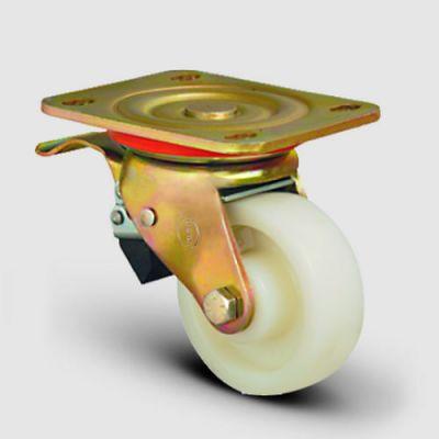 EMES - ED01ZBZ200 Döner Tablalı Frenli Poliamid Tekerlek Çap:200 Ağır Sanayi Tekerleği Sarı Maşalı Oynak Frenli Tabla Bağlantılı Bilya Rulmanlı