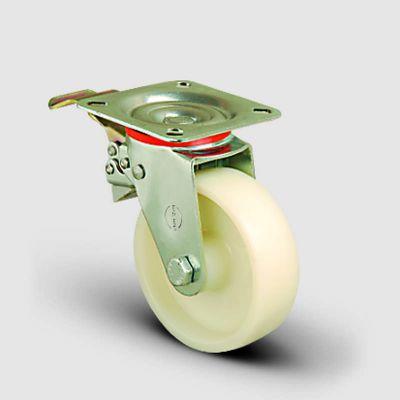 EMES - EK01ZBZ125F Döner Tablalı Frenli Poliamid Tekerlek Çap:125 Orta Sanayi Tekerleği Oynak Tabla Bağlantılı Bilya Rulmanlı