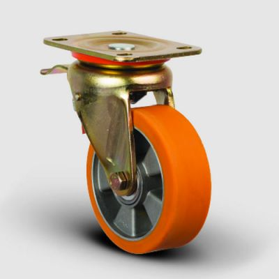 EMES - ED01ABP100F Döner Tablalı Frenli Alüminyum Üzeri Poliüretan Kaplı Tekerlek Çap:100 Ağır Sanayi Tekerleği Sarı Maşalı Oynak Frenli Tabla Bağlantılı Bilya Rulmanlı