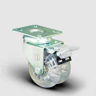 EMES - ET01DBP75F Oynak Frenli Tablalı Çiftli Şeffaf Tekerlek Çap:75 Sanayi Tekerleği Bilya Rulmanlı Oynak Tabla Bağlantılı Poliüretan Silikon İkili Teker