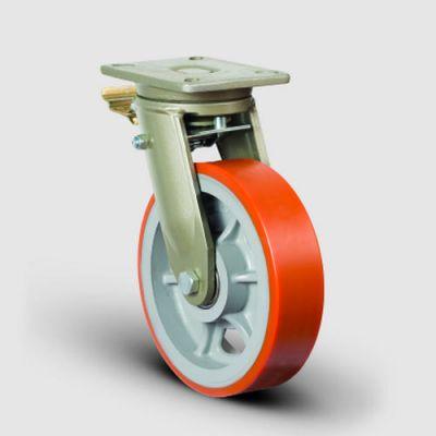 EMES - EV01VBP300F Döner Tablalı Frenli Poliüretan Tekerlekli Çap:300 Ekstra Ağır Sanayi Tekerleği Bilya Rulmanlı