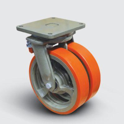 EMES - EW01VBP300F Döner Tablalı Frenli Döküm Üzeri Poliüretan Kaplı Çap:300 Çift Tekerlekli Ekstra Ağır Sanayi Tekerleği Bilya Rulmanlı
