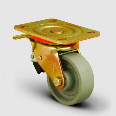 EMES - ED01VKV200F Döner Tablalı Döküm Tekerlek Çap:200 Ağır Sanayi Tekerleği Sarı Maşa Oynak Tabla Bağlantılı Burçlu