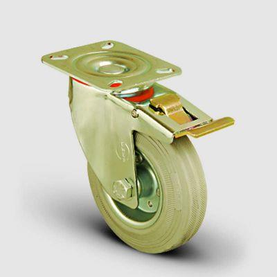EMES - EM01SPRg200F Döner Tablalı Frenli Gri Kauçuk Tekerlek Çap:200 Hafif Sanayi Tekerleği, Oynak Frenli Tabla Bağlantılı, Burçlu