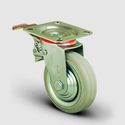 EMES - EK01SPRg125F Döner Tablalı Frenli Gri Kauçuk Kaplı Tekerlek Çap:125 Orta Sanayi Tekerleği Oynak Frenli Tabla Bağlantılı Burçlu