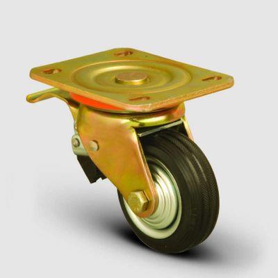 EMES - ED01SPR100F Döner Tablalı Frenli Kauçuk Kaplı Tekerlek Çap:100 Ağır Sanayi Tekerleği Sarı Maşa Oynak Frenli Tabla Bağlantılı Burçlu