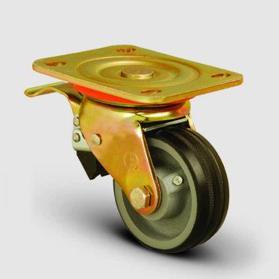 EMES - ED01VKR200F Döner Tablalı Frenli Döküm Üzeri Kauçuk Kaplı Tekerlek Çap:200 Ağır Sanayi Tekerleği Sarı Maşa Oynak Frenli Tabla Bağlantılı Burçlu