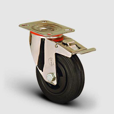 EMES - SSEM01MKR125F Paslanmaz Döner Tablalı Frenli Kauçuk Tekerlek Çap:125 Inox Hafif Sanayi Tekerleği Burçlu Oynak Tabla BağlantılıFrenli
