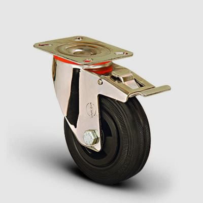EMES - SSEM01MKR200F Paslanmaz Döner Tablalı Frenli Kauçuk Tekerlek Çap:200 Inox Hafif Sanayi Tekerleği Burçlu Oynak Tabla BağlantılıFrenli