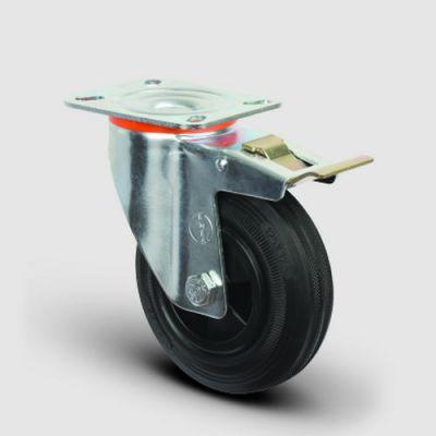 EMES - EM01MKR125F Döner Tablalı Frenli Plastik-Kauçuk Tekerlek Çap:125 Hafif Sanayi Tekerleği, Oynak Tabla Bağlantılı, Burçlu
