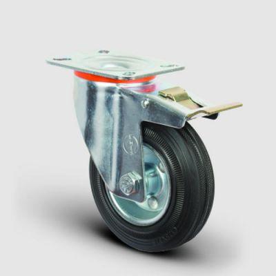 EMES - EM01SPR125F Döner Tablalı Frenli Kauçuk Tekerlek Çap:125 Hafif Sanayi Tekerleği, Oynak Frenli Tabla Bağlantılı, Burçlu