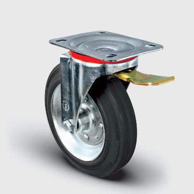 EMES - EM01SPR200F Döner Tablalı Frenli Kauçuk Tekerlek Çap:200 Hafif Sanayi Tekerleği, Oynak Frenli Tabla Bağlantılı, Burçlu