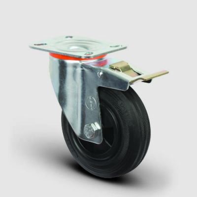 EMES - EM01MKR80F Döner Tablalı Frenli Plastik-Kauçuk Tekerlek Çap:80 Hafif Sanayi Tekerleği, Oynak Tabla Bağlantılı, Burçlu