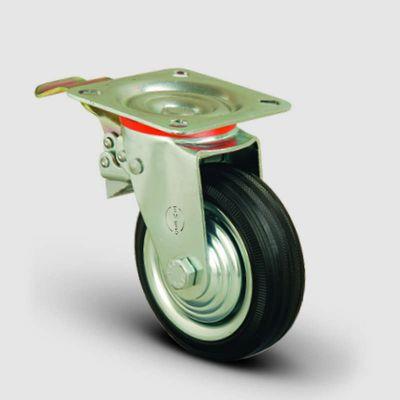 EMES - EK01SPR100F Döner Tablalı Frenli Kauçuk Kaplı Tekerlek Çap:100 Orta Sanayi Tekerleği Oynak Tabla Bağlantılı Burçlu