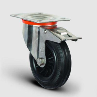 EMES - SSEZ01MKR100F Paslanmaz Döner Tablalı Frenli Kauçuk Tekerlek Çap:100 Ağır Tip Inox Sanayi Tekerleği Oynak Tabla Bağlantılı Burçlu Poliproilen Üzeri Kauçuk Kaplı 100x35