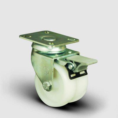 EMES - ET01ZKZ75F Oynak Frenli Tablalı Çiftli Poliamid Tekerlek Çap:75 Sanayi Tekerleği Burçlu Oynak Tabla Bağlantılı İkili Teker