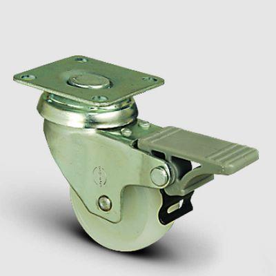 EMES - EP01ZKZ50F Döner Tablalı Frenli Poliamid Tekerlek Çap:50 Hafif Sanayi Tekerleği,Oynak Frenli, Tabla Bağlantılı, Burçlu