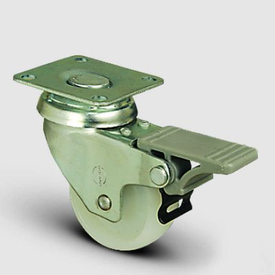 EMES - EP01ZKZ75F Döner Tablalı Frenli Poliamid Tekerlek Çap:75 Hafif Sanayi Tekerleği,Oynak Frenli, Tabla Bağlantılı, Burçlu