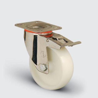 EMES - SSEM01ZKZ80F Paslanmaz Döner Tablalı Frenli Poliamid Tekerlek Çap:80 Inox Hafif Sanayi Tekerleği Burçlu Oynak Tabla Bağlantılı Frenli
