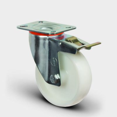 EMES - EM01ZKZ80F Döner Tablalı Frenli Poliamid Tekerlek Çap:80 Hafif Sanayi Tekerleği, Oynak Frenli Tabla Bağlantılı, Burçlu