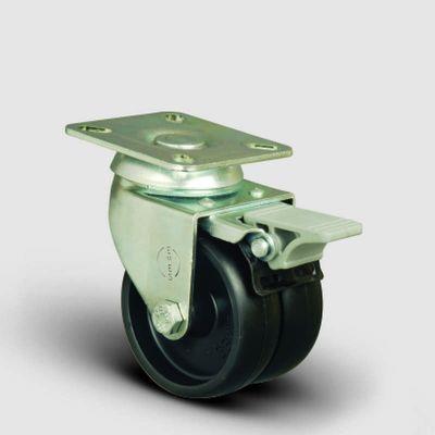 EMES - ET01MKM75F Oynak Frenli Tablalı Çiftli Moblen Tekerlek Çap:75 Sanayi Tekerleği Burçlu Oynak Tabla Bağlantılı Polipropilen İkili Teker