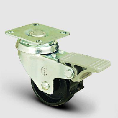 EMES - EP01MKM75F Döner Tablalı Frenli Polipropilen Tekerlek Çap:75 Hafif Sanayi Tekerleği,Oynak Frenli Tabla Bağlantılı, Burçlu