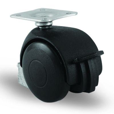 EMES - EC01MKM50F Döner Tablalı Frenli Plastik Mobilya Tekerleği Çap:50 Oynak Frenli Tabla Bağlantılı, Burçlu Sehpa Tekeri Koltuk Tekeri