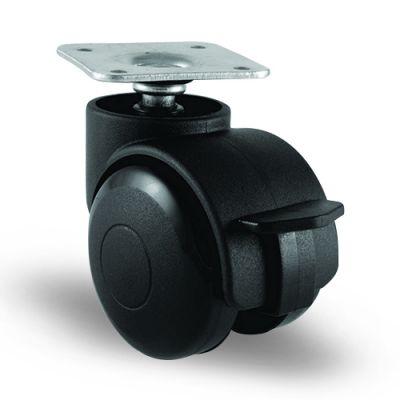EMES - EC01GMKM50F Döner Tablalı Frenli Plastik Mobilya Tekerleği Çap:50 Oynak Frenli Tabla Bağlantılı, Geniş Tip, Burçlu