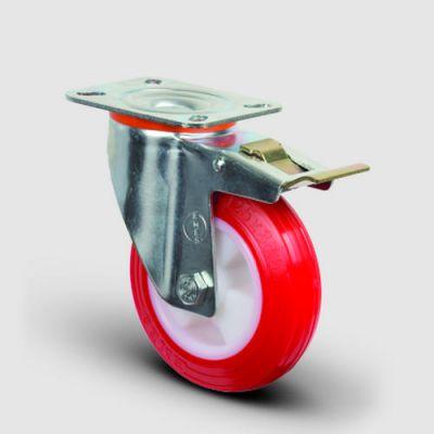EMES - EM01ZKP200F Döner Tablalı Frenli Poliüretan Tekerlek Çap:200 Hafif Sanayi Tekerleği Oynak Frenli Tabla Bağlantılı, Burçlu