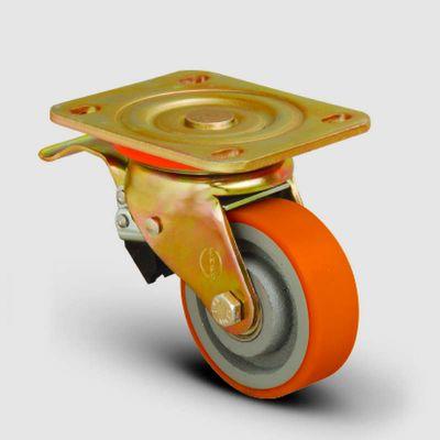 EMES - ED01VKP80F Döner Tablalı Frenli Döküm Üzeri Poliüretan Kaplı Tekerlek Çap:80 Ağır Sanayi Tekerleği Sarı Maşa Oynak Frenli Tabla Bağlantılı Burçlu
