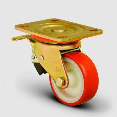 EMES - ED01ZKP80F Döner Tablalı Frenli Poliüretan Kaplı Tekerlek Çap:80 Ağır Sanayi Tekerleği Sarı Maşalı Oynak Frenli Tabla Bağlantılı Burçlu